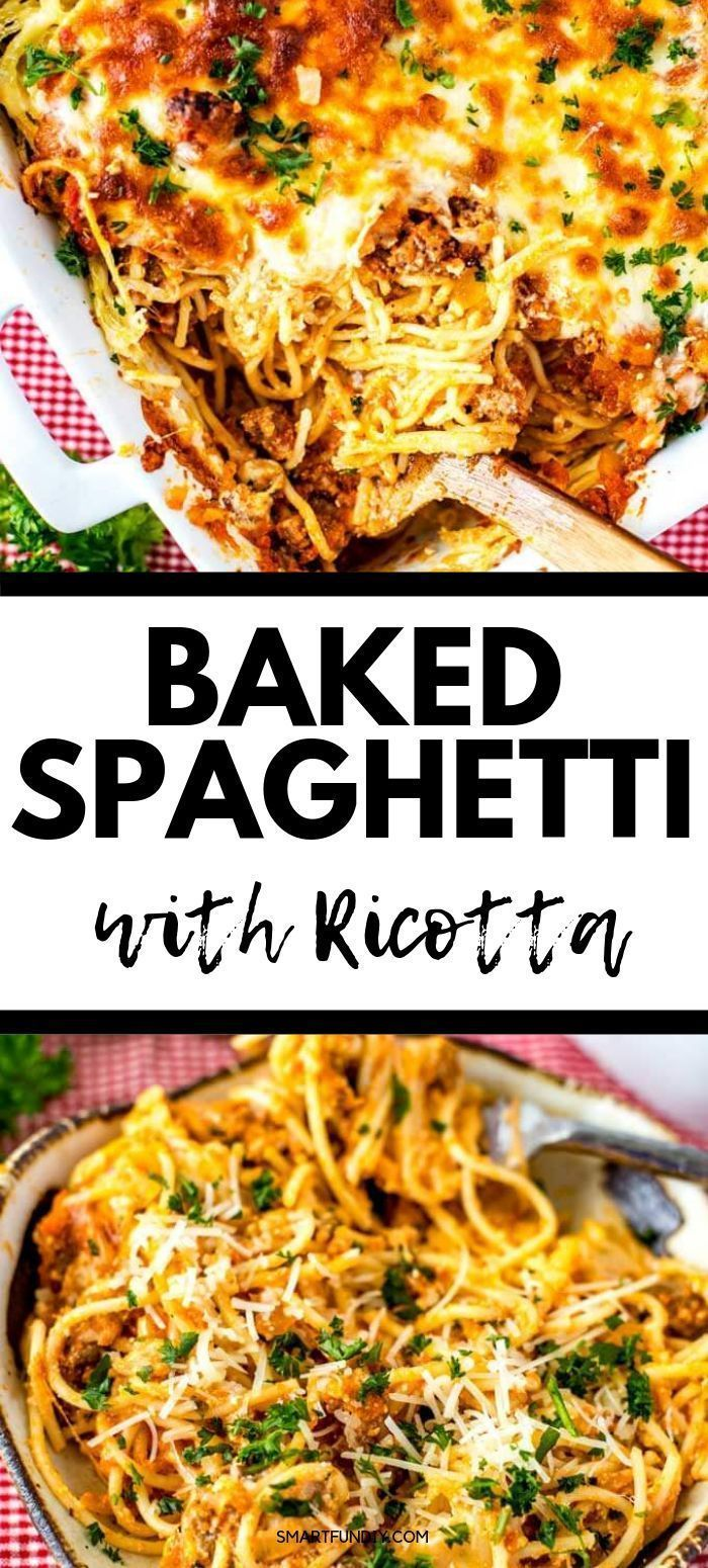 Baked Spaghetti With Ricotta In 2020 Easy Baked Spaghetti Recipes Using Ricotta Cheese Baked Spaghetti