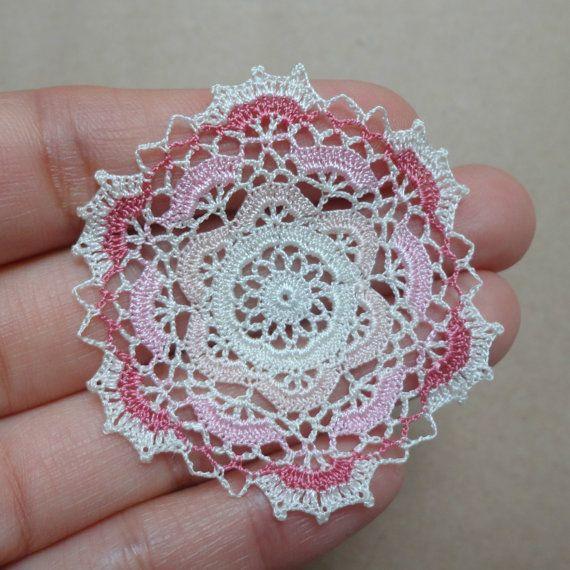 Miniature crochet doily in cream and pink colors 112 by MiniGio