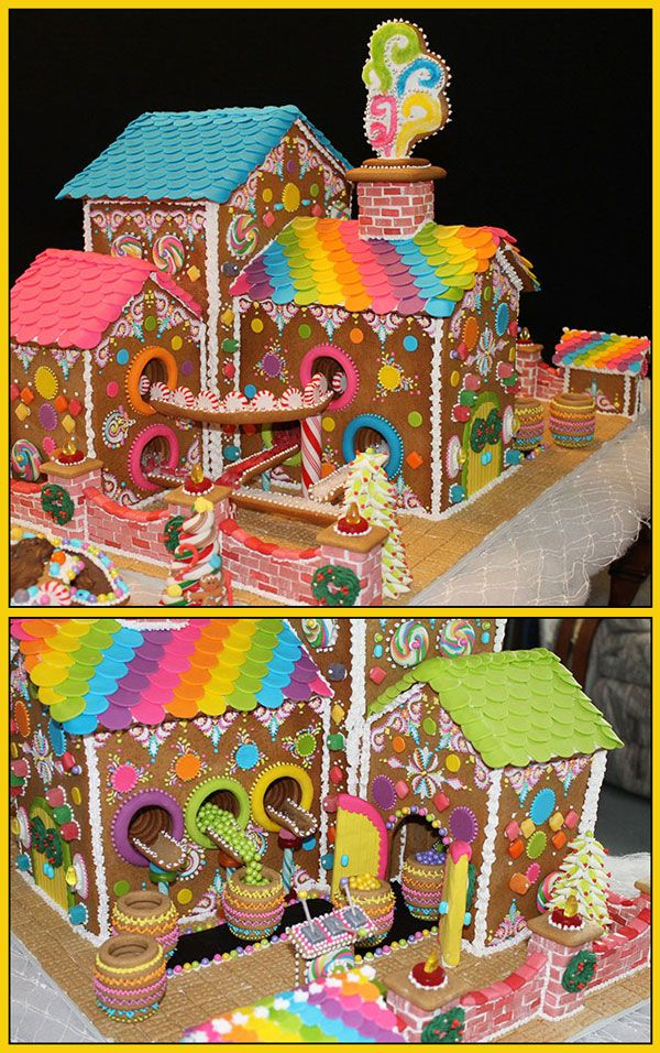 Giant Gingerbread Candy Factory (with candy conveyor belts) by Lynne Schuyler.