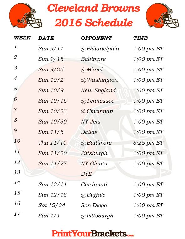 Printable Cleveland Browns Schedule - 2016 Football Season