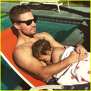 Stephen Amell Goes Shirtless for Thanksgiving with Baby Mavi ...