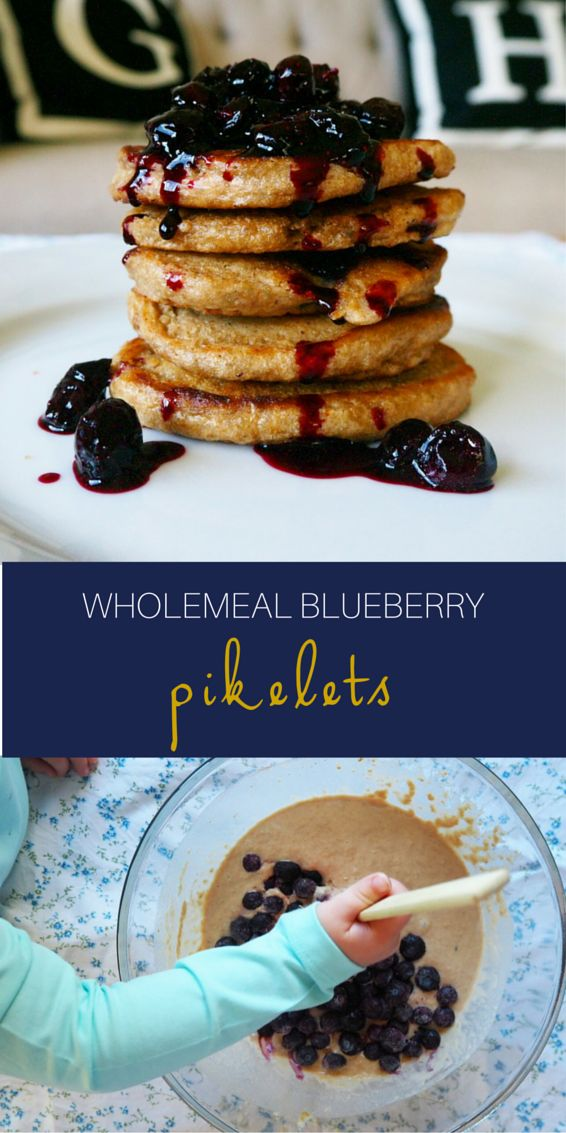 These wholemeal blueberry studded pikelets are absolutely delicious and made even more amazing when smothered in our homemade blueberry sauce.  This recipe is simple enough for little hands to help along too so get your children into the kitchen for a little messy {but oh so delish} fun!