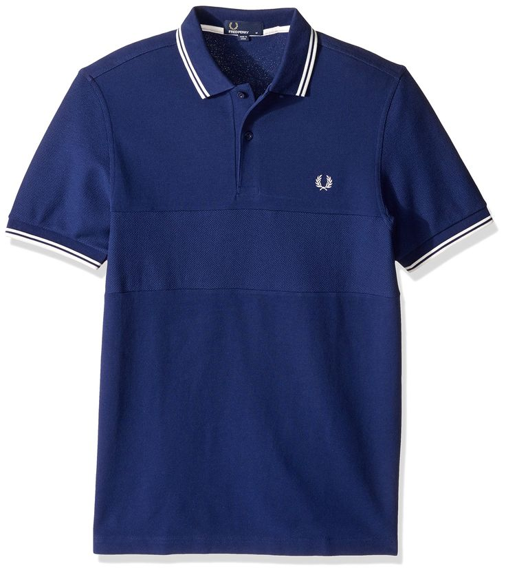 Fred Perry Men's Textured Panel Pique Shirt, French Navy, Medium