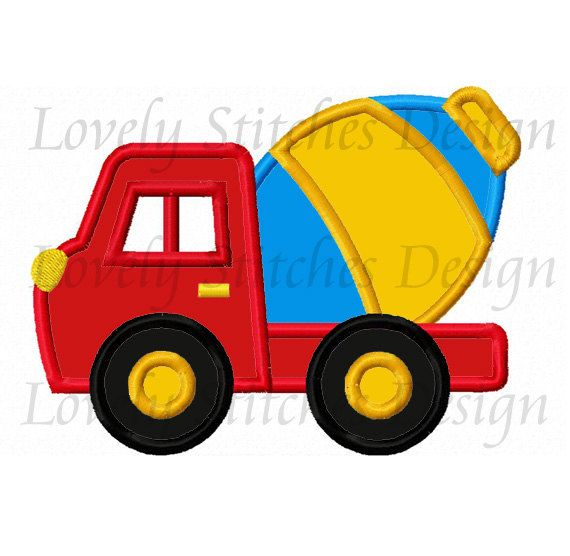 Mixer Truck Applique Machine Embroidery Design NO:0339