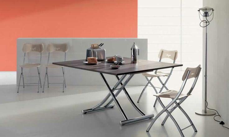 MONDIAL, design : Studio Ozeta - Metal frame transformable table, gas adjustable height from cm 23 to cm 80, melamine doubling top. www.ozzio.com