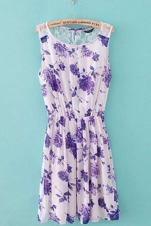 White Sleeveless Purple Floral Back Lace Chiffon Dress - Sheinside.com
