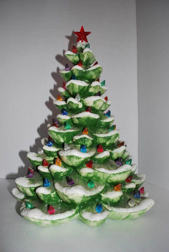 Vintage Ceramic Christmas Tree 13 Flocked Ceramic Etsy Vintage Ceramic Christmas Tree Ceramic Christmas Trees Christmas Tree