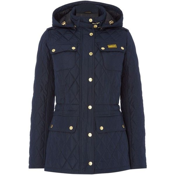 Barbour international absorber parka (15.050 RUB) ❤ liked on Polyvore featuring outerwear, coats, navy, women, navy parka, navy blue parka, barbour parka, barbour coats and navy coat