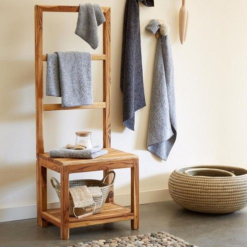 $380 Sustainable Teak Bathroom Butler Towel Rack & Stool | VivaTerra