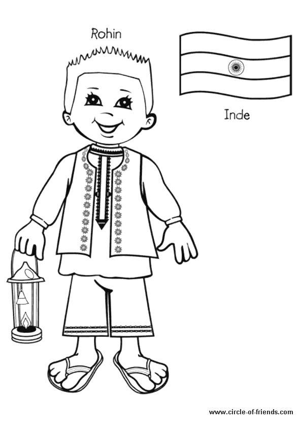 activite coloriage d 39 un enfant de l 39 inde ecole pinterest. Black Bedroom Furniture Sets. Home Design Ideas