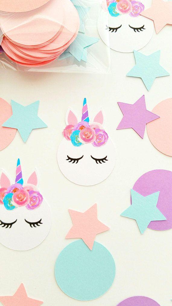Pastell Unicorn Birthday Confetti, Winter-Pastellparty