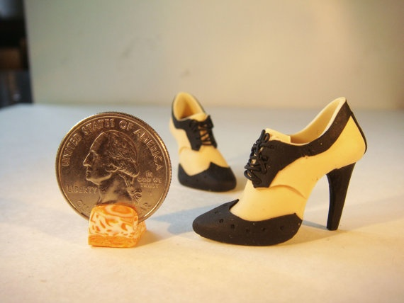 Miniature High Heel Shoes - Handmade from Polymer Clay via Etsy