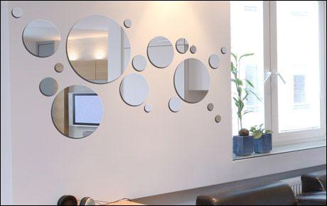 Planche de miroirs en forme de petits ronds. Miroir de haute qualité en acrylique.