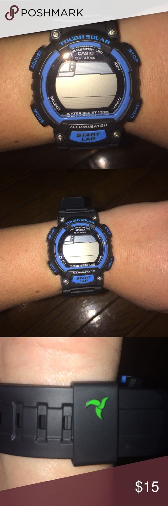 Men's Casio watch! Men's black and blue detailed sports watch! Works perfectly, just needs a new battery. Tough Solar! Water resistant, perfect for all sport players! ⚽️🏀🏈🏉⚾️🏓🏐 Casio Accessories Watches