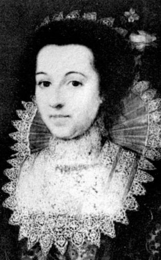Lady Elizabeth Raleigh, 1565-1647, (Bess Throckmorton) was a Lady of the Privy Chamber to Elizabeth !. She secretly married Sir Walter Raleigh in 1591. Her father was cousin to King Henry VIII's sixth wife Catherine Parr.