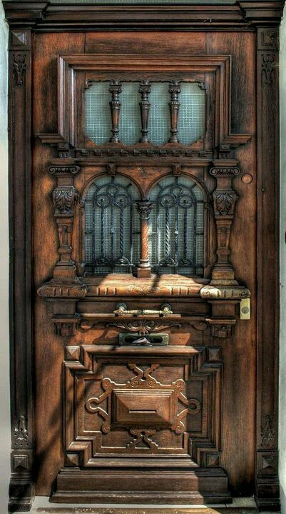 Old wood carved door beautiful design pinterest for Wood carving doors photos