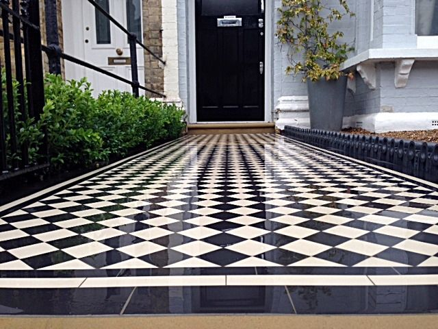 balham black and white victorian mosaic tile path sandstone paving yellow brick london wall and imperial metal iron gate (3)
