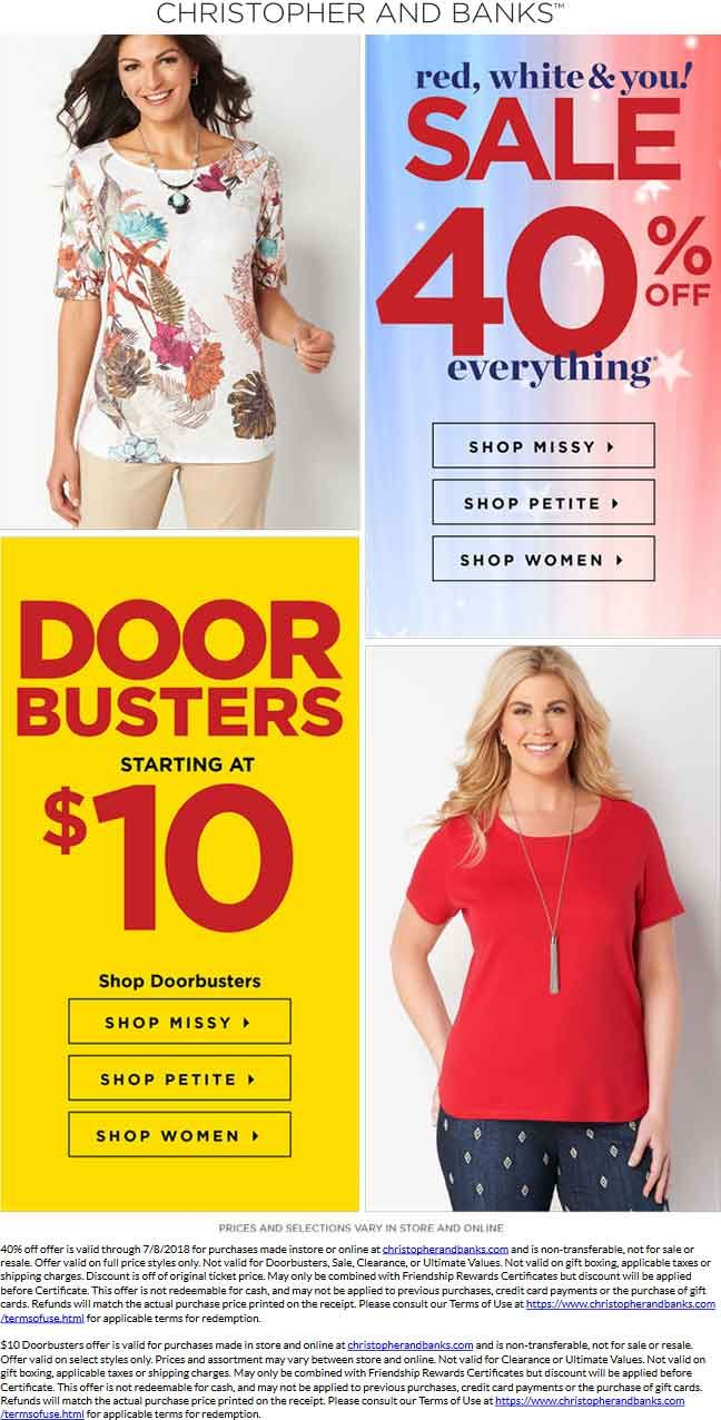 Pinned July 8th 40 Off Everything Today At Christopher And Banks Ditto Online Thecouponsapp Shopping Coupons Christopher Banks Christopher