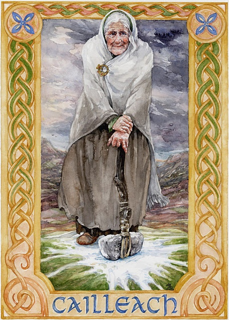 In Irish and Scottish mythology, Cailleach is a divine hag, a creatrix, and possibly an ancestral deity or deified ancestor. The word Cailleach means 'hag' in modern Scottish Gaelic, and has been applied to numerous mythological figures in Ireland, Scotland and the Isle of Man.
