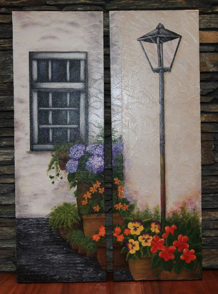 Mediterranean Courtyard painting I painted in two panels
