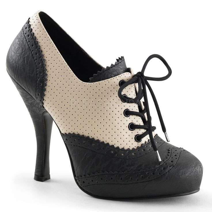 """Pin Up Couture Cream & Black 4.5"""" Heel Oxford Spectator Shoes 5 6 7 8 9 10 11"""