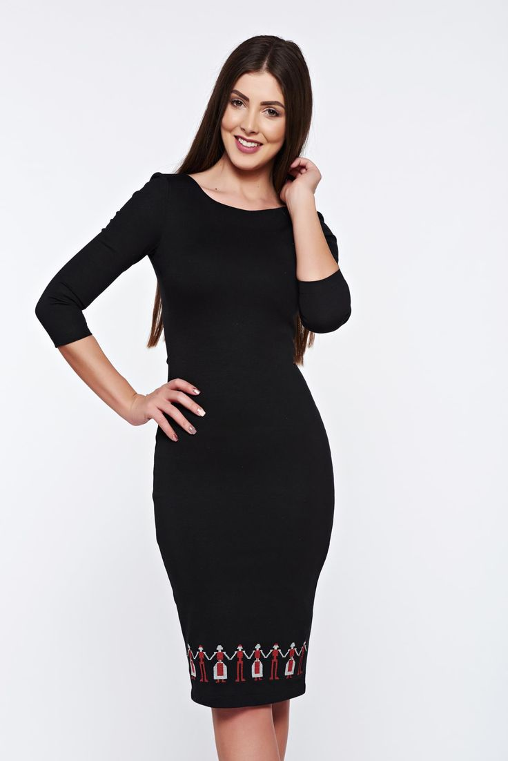 StarShinerS black dress office pencil with 3/4 sleeves embroidered, tented cut, without clothing, embroidery details, 3/4 sleeves, slightly elastic fabric
