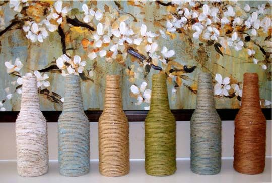 Wrap yarn around beer or wine bottles.