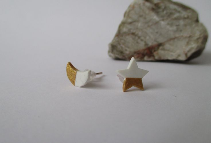 Cute Gold & White Star & Moon Stud earrings Fimo - Polymer Clay buy here: https://www.etsy.com/shop/heymate