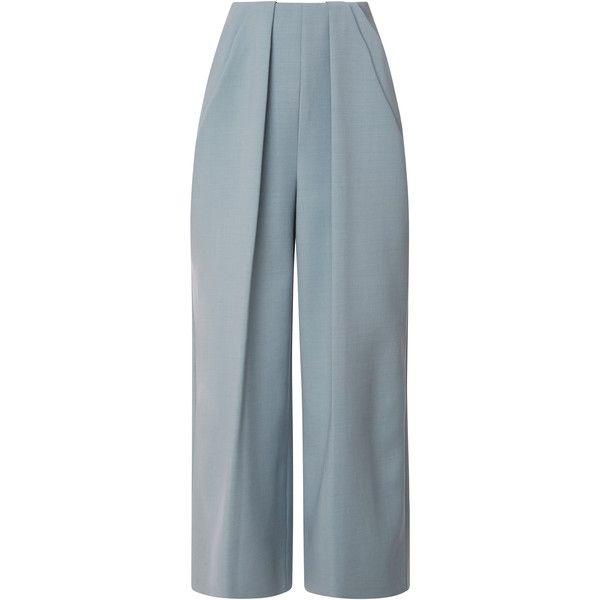 DELPOZO Pant With Symmetric Pleats featuring polyvore, fashion, clothing, pants, delpozo, bottoms, trousers, powder blue, pleated pants, pleated trousers, blue pants and pastel pants