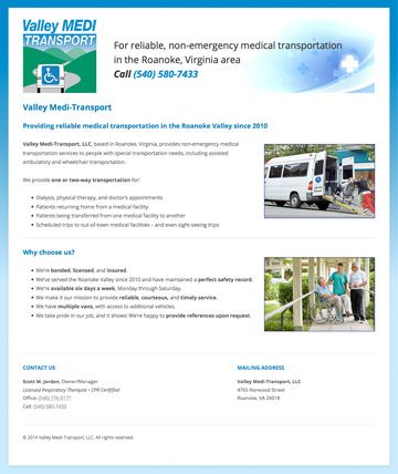 Custom one-page WordPress site with responsive design for Valley Medi-Transport in Roanoke, VIrginia. Visit the site at http://valleymeditransport.com/.