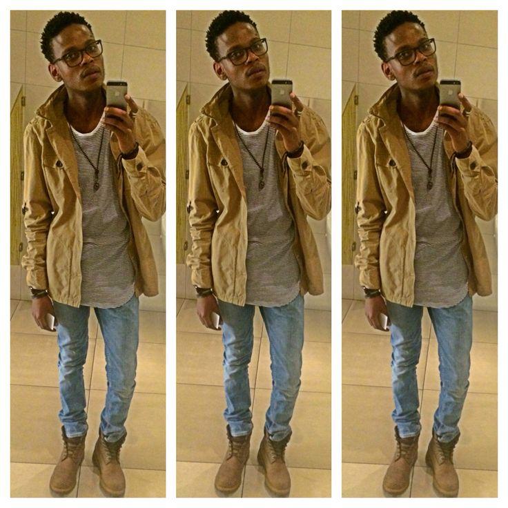#menwear #zarajeans #cottonontshirt #timbalandboots #guessjacket