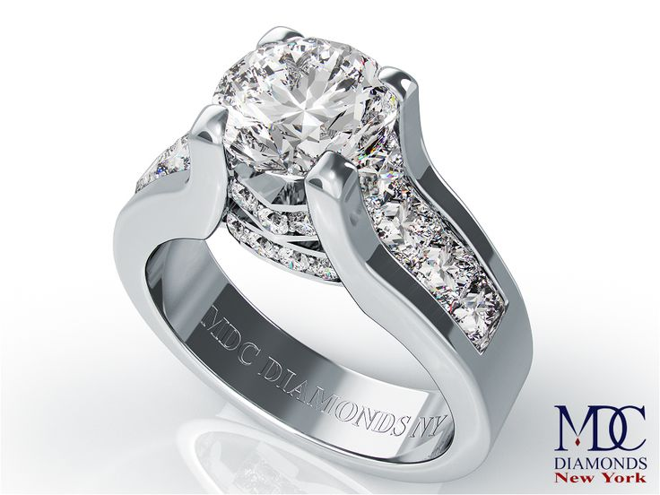 Round Diamond Engagement ring princess diamonds band