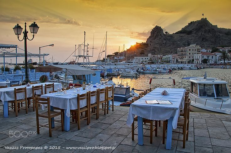 Dinner time - at Myrina the capital of Limnos island in north Aegean sea - Greece