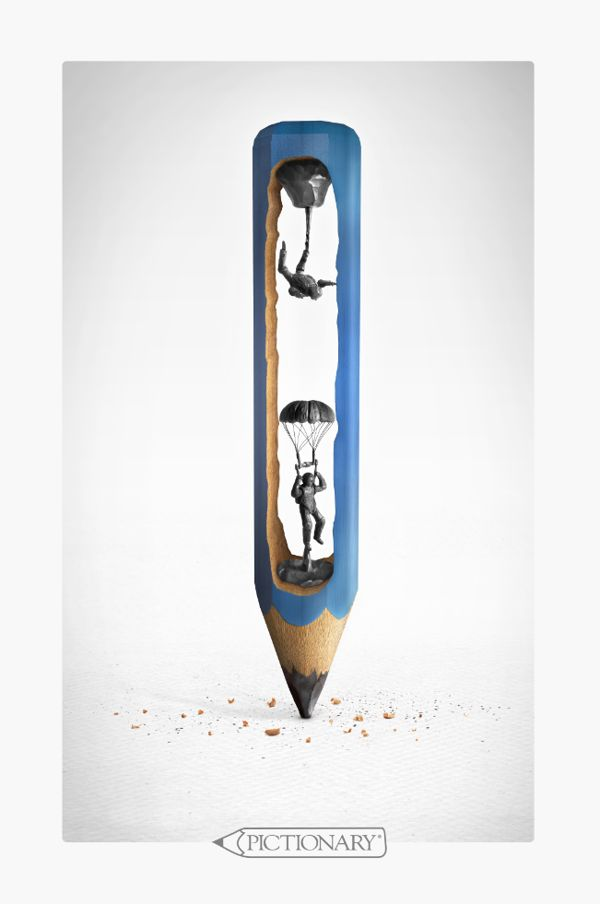 Pictionary Pencils 2010 by Jota Julián Gutiérrez, via Behance  What a cool ad. This one features a pencil with the graphite in the pencil carved into characters. This ad is for Pictionary, and is clever. It makes you look and see what is really going on.  the leading lines in this ad make you travel to the pencil outline on the bottom to see what the ad is all about.