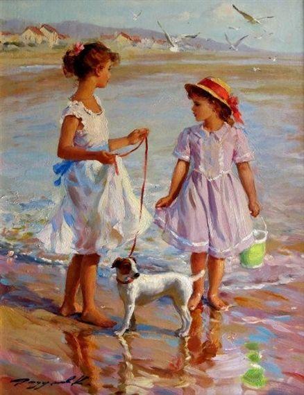 Dwie młode dziewczyny z psem na plaży - Konstantin Razumowowi