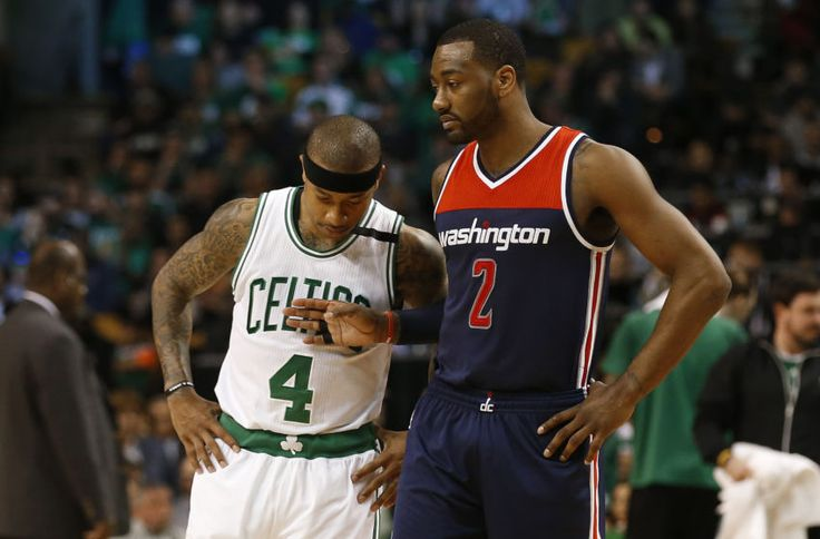 Apr 30, 2017; Boston, MA, USA; Washington Wizards guard John Wall (2) taps Boston Celtics guard Isaiah Thomas (4) during a timeout during the second quarter in game one of the second round of the 2017 NBA Playoffs at TD Garden. Mandatory Credit: Winslow Townson-USA TODAY Sports