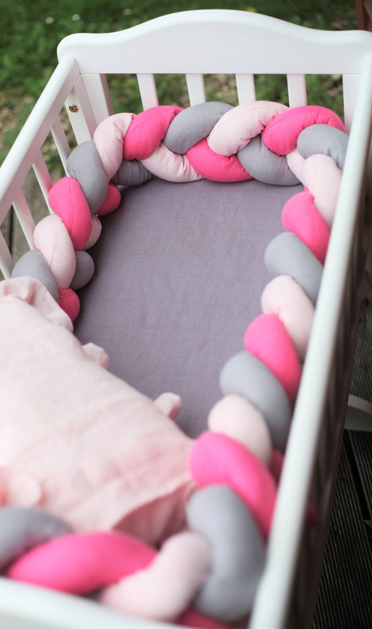 Baby crib bumpers made of 100% LINEN, filled with high quality hollow fibre. Braided bumpers can be used as crib, cot, cradle bumpers, tummy time assistants or just as nursery or any other room decor. Perfect as a Christmas gift for a new mom or newborn baby. We combined our love for