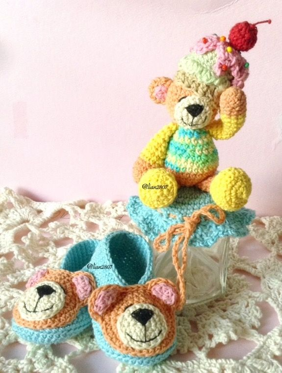 Teddy bear baby booties & jar cover