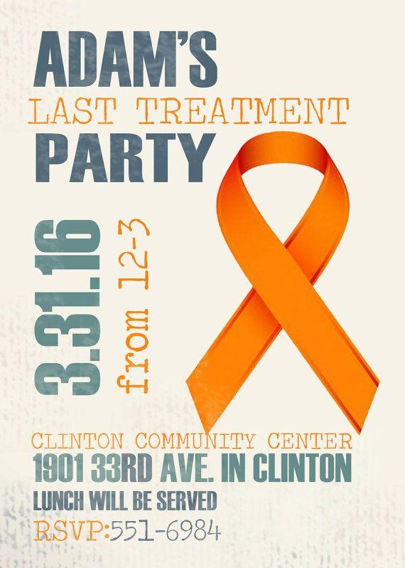 Done With Cancer Treatment Party Invitation. Leukemia Ribbon.