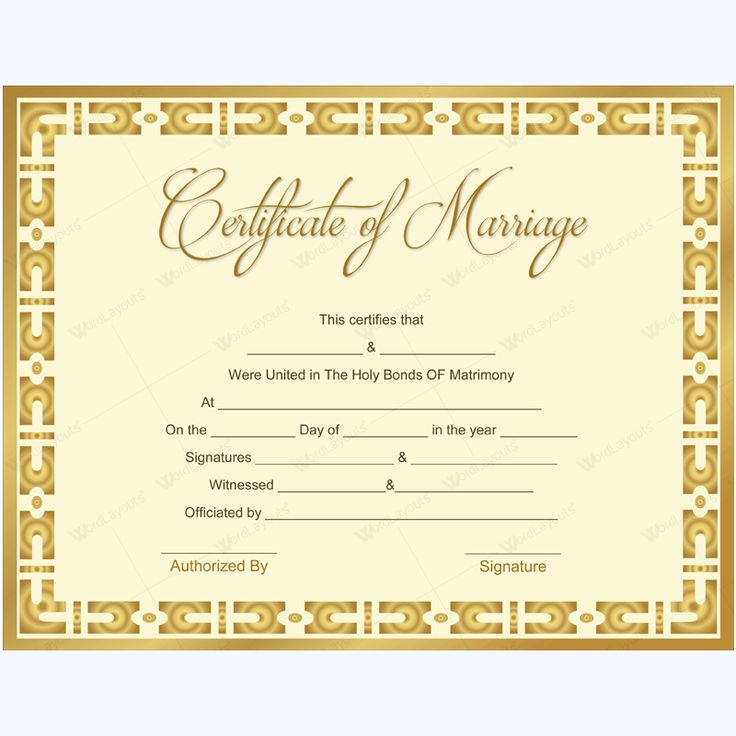 68 best Marriage Certificate Templates images on Pinterest - marriage certificate template