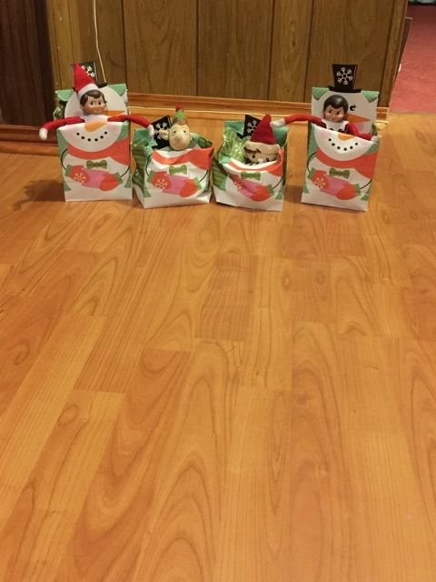 Elf on the shelf ideas Paper bag race
