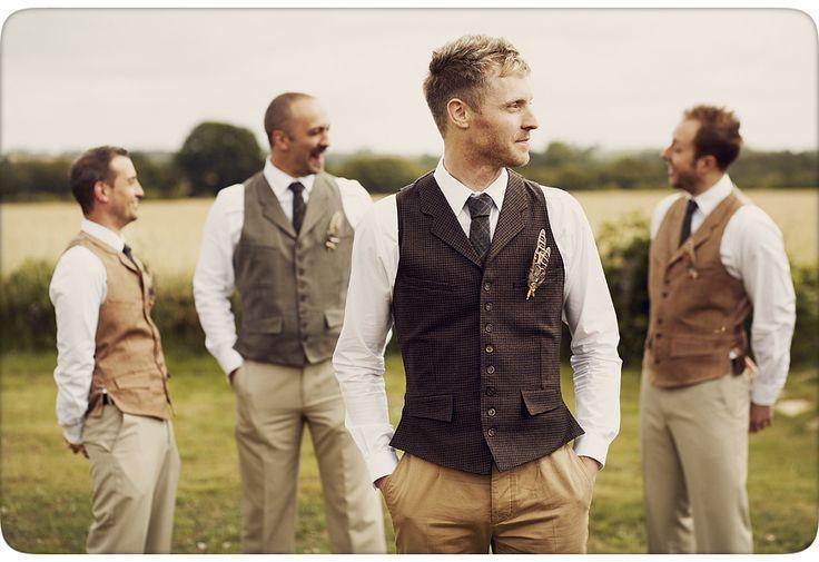 Groom and Ushers in Tweed Waistcoats - Mickey & Lee Birkin Essex Suffolk English Countryside Wedding Photography Vintage Home Made - Hello