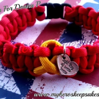 "Military Wife,Military Mom,Military Girlfriend- Red Friday Paracord Bracelet with Yellow Paracord Support Ribbon & ""Until they all come home"" Charm ..Item Hand Made by Me..Retail $9.00 plus shipping.. Follow Me on Facebook: www.facebook.com Or Visit My Website: www.myheroskeepsakes.com"