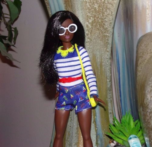 Barbie-Fashionista-OOAK-Petite-AA-Doll-w-Nautical-Jumpsuit-Boots-amp-Accessories