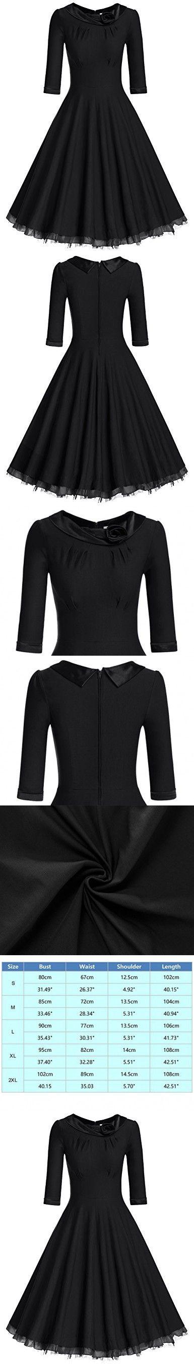 MUXXN Women's Retro-Classic Empire Waist Fall Casual Party Dress (Black,M)