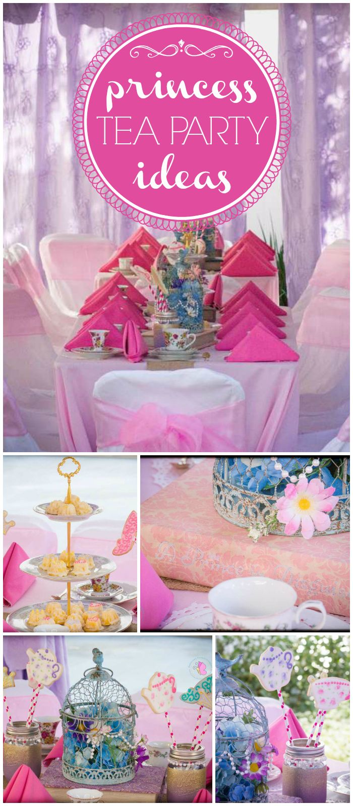 An incredible fairytale princess tea party in lavender, carnation pink and sky blue! See more party planning ideas at CatchMyParty.com!