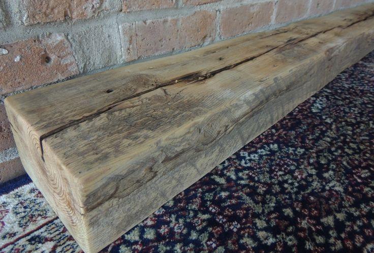 "Reclaimed Barn Beam 62"" x 6"" x 4"" - Fireplace Mantel - Rustic Mantle Shelf - Antique Barnwood Shelf - Gray Mantel by Harvestbilt on Etsy"