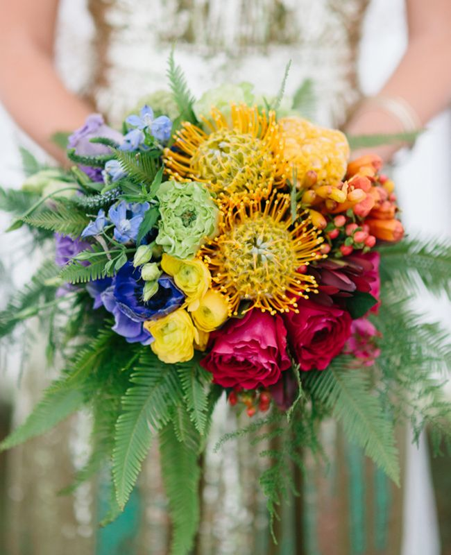 A bright Rainbrow Bright-inspired bridal bouquet