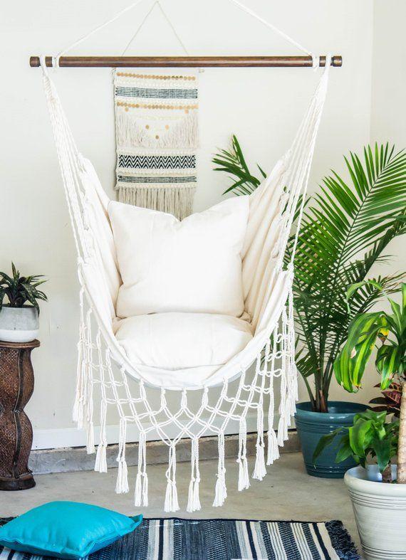 Natürliche Off white Makramee Hängematte Swing Stuhl + 2 Kissen SET: Boho Baumwolle Leinwand Indoor & Outdoor hängen Stuhl