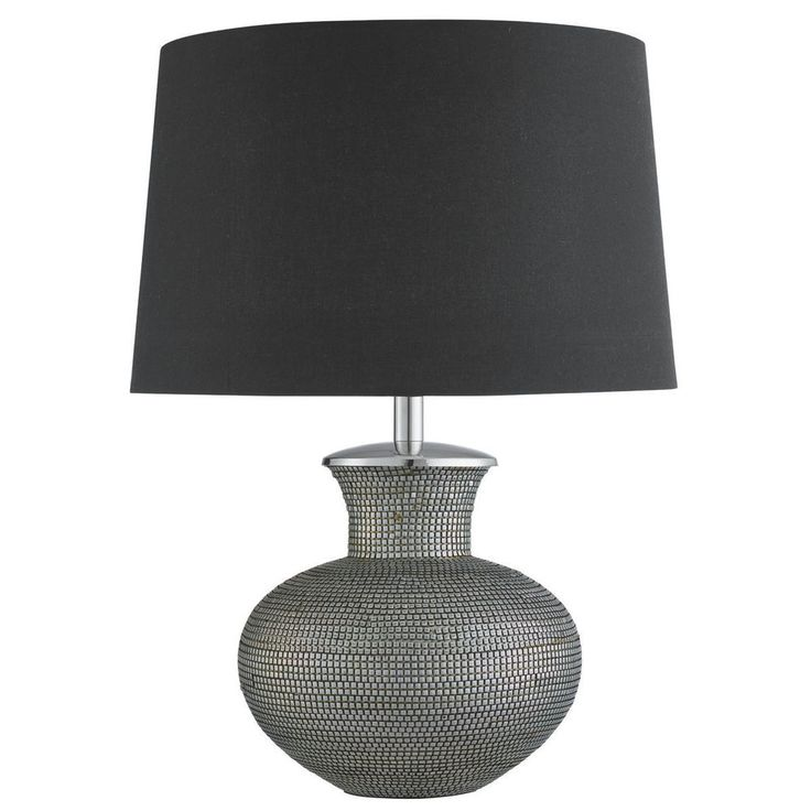 Great Searchlight 1499SI Cosmopolitan Pewter Table Lamp With Black Shade
